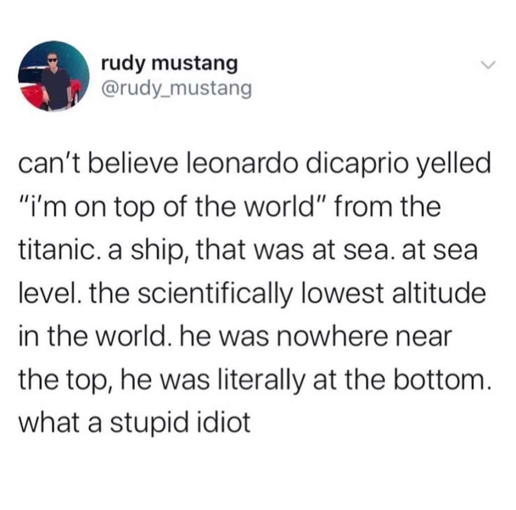 memes, can't believe leonardo dicaprio im on top of the world when lowest point is sea level, rudy mustang memes, titanic memes, funny tweets